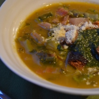 Spring minestrone with mint and basil pesto