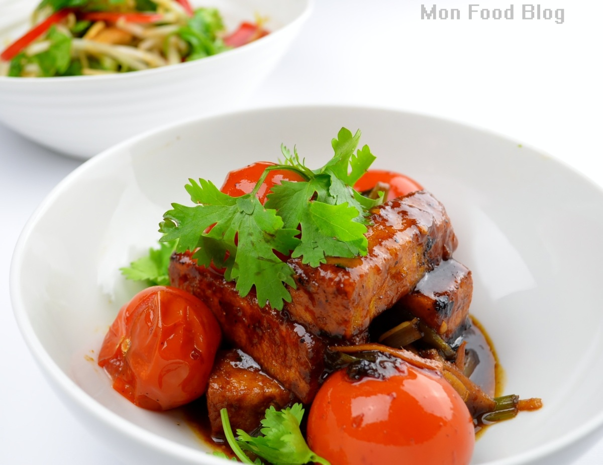 Crispy tofu with blistered tomatoes
