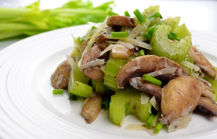 Mushroom, celery and Pecorino salad
