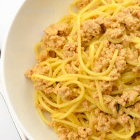 Spaghetti with white meat ragù