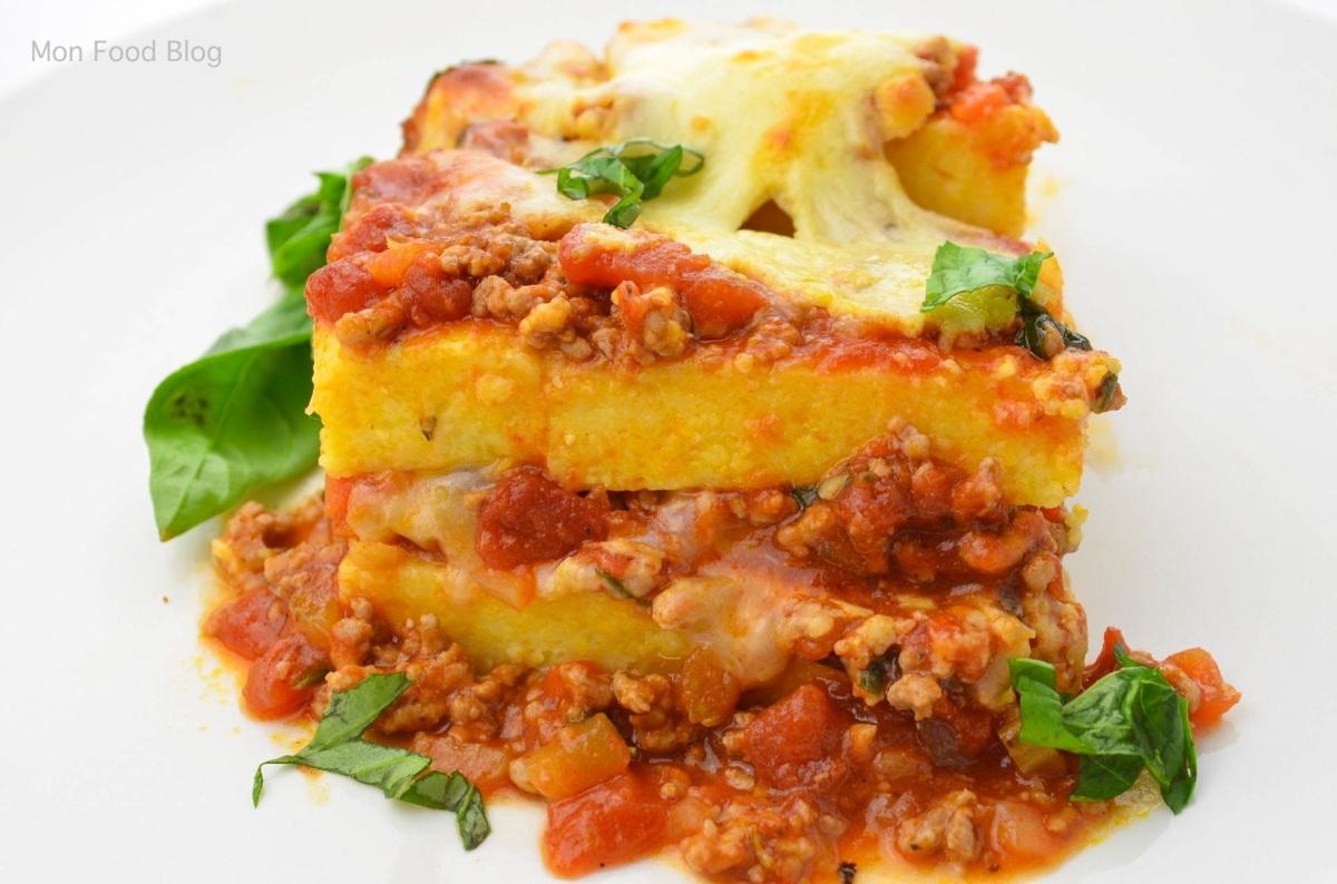 Layered polenta cake with meat ragù