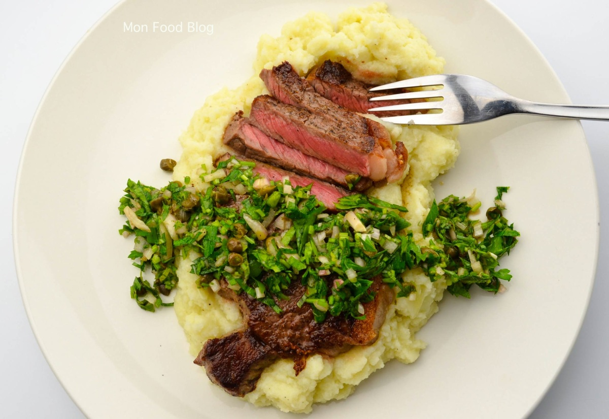 Sirloin steak with cauliflower purée and caper salsa