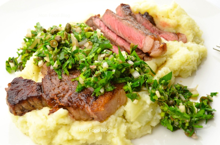 Sirloin steak with cauliflower purée