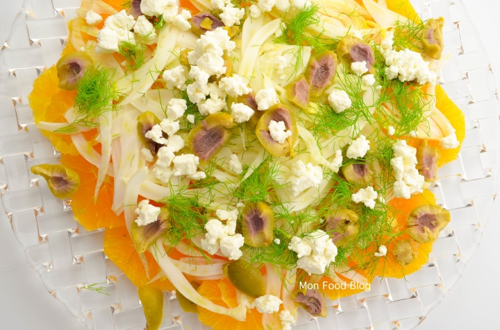 Orange, fennel, olive and goat cheese salad