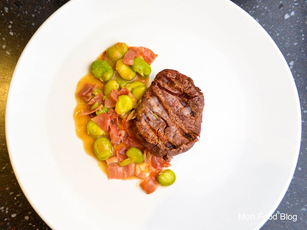 Filet mignon with speck and fava beans
