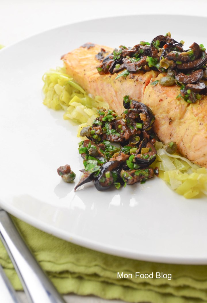 Salmon with tapenade