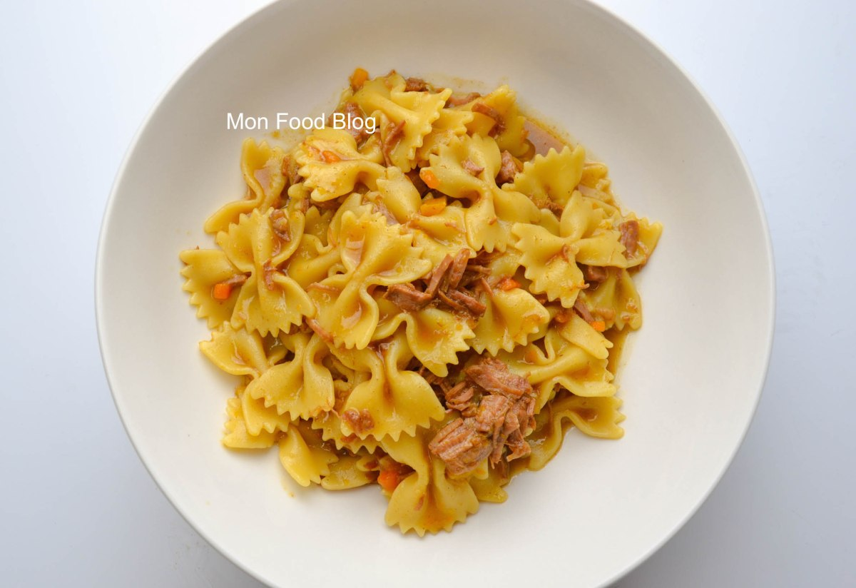 Farfalle in a rich beef broth