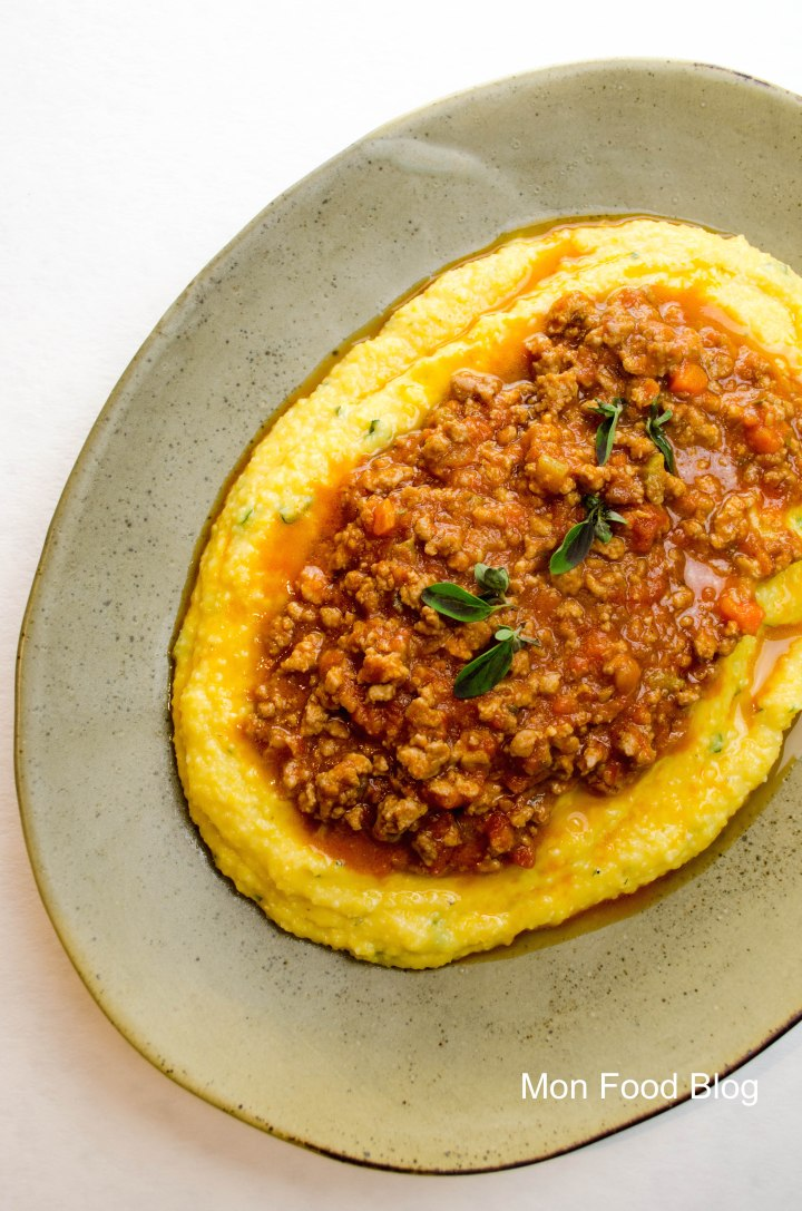 Herb polenta with pork ragù