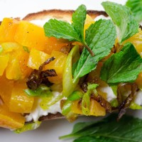 Bruschetta with goat cheese and golden beets