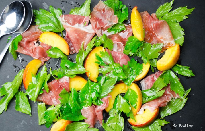 Prosciutto, peach and lovage salad